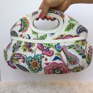 Vera Bradley white paisley oblong pleated purse